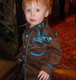 Rockmount Ranch Wear Children's Rockmount Western Shirt, Brown/Turquoise, X-Small Only, U.S.A. Made - $55.95 @ 45% OFF!