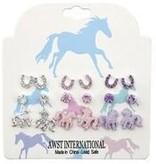 AWST International Earrings - Pink/Clear/Purple Set of 9 Pairs