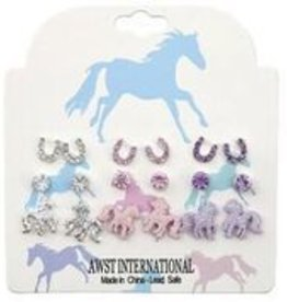 AWST Earrings - Pink/Clear/Purple Set of 9 Pairs