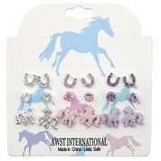 AWST International Earrings - Pink/Clear/Purple Set of 9 Pairs