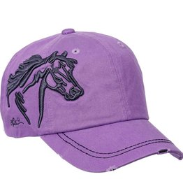 AWST Lavender Distressed 3D Horse Head Ball Cap