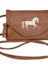AWST International Handbag - Lt Brown Faux Leather w/Embroid Horse
