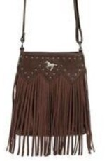 AWST Handbag - Cross Body Fringed w/Rivets & Horse Medallion