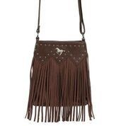 AWST International Handbag - Cross Body Fringed w/Rivets & Horse Medallion