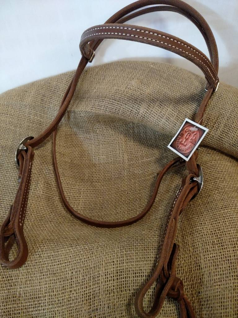 Circle L Circle L Headstall, Knotted Bit Ends, Oiled, U.S.A. Made - Horse Size
