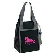 AWST International Lunch Bag -- Black w/Pink Galloping Horse