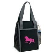 AWST Lunch Bag -- Black w/Pink Galloping Horse