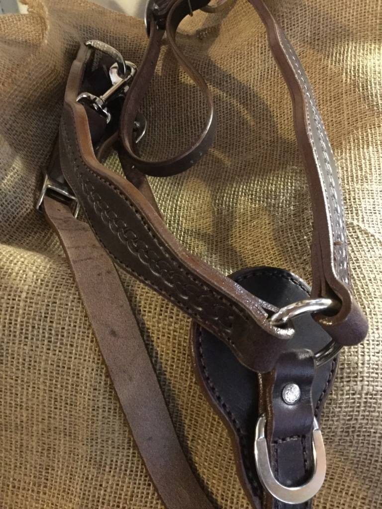 Circle L Circle L Breast Collar, Scalloped, D.Oil, Rope Embossed, U.S.A. Made - Horse Size
