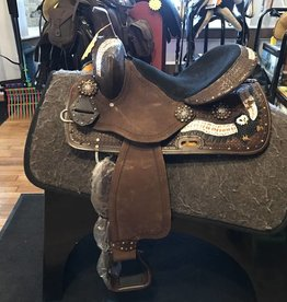 "Lamprey Barrel Saddle, Hand Painted Accents, FQHB - 14"" Seat - Was $495 now $325!!!"