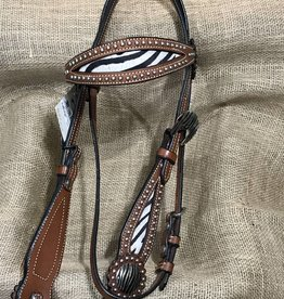 JT International Silver Royal Headstall, Zebra Hair-On, M.Oil - Horse - - $89.95 @ 40% OFF!