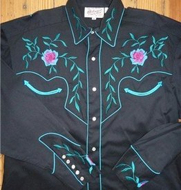 Rockmount Ranch Wear Men's Vintage Floral Shirt Black & Turq, XL - Reg $89.95 @ 50% OFF!