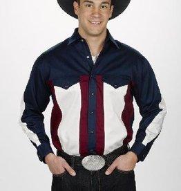 Western Express Mens Western Shirt, Navy/Cream/Blue, Medium Only - Reg $45.50 @ 60% OFF!