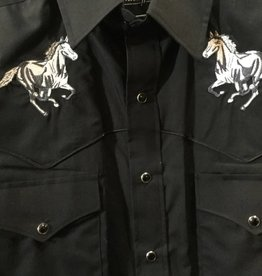 White Horse Apparel Men's Embroidered Western Shirt, Black, Small - Reg $38.95 @ 50% OFF!