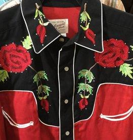 Rockmount Ranch Wear Men's Vintage 2 Tone Rose Shirt Red/Black, Large - Reg $93.95 @ 50% OFF!
