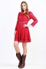 Women's Adiktd Boat Neck Lace Dress, Red, Large - SALE $20