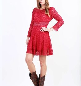 Women's Adiktd Boat Neck Lace Dress, Red, Large - SALE $20