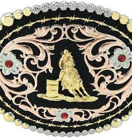 Western Fashion Accessories Barrel Racer Buckle - Pink w/Crystals