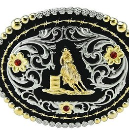 Western Fashion Accessories Barrel Racer Buckle - Silver w/Crystals