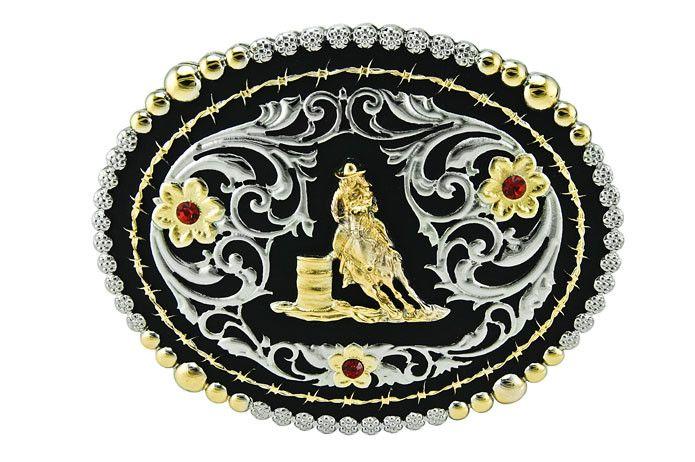 Western Fashion Accessories Barrel Racer Buckle - Silver w/Crystals