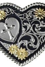 Western Fashion Accessories Heart Buckle - Cross, Gold Petals, Rope Edge