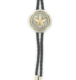 Double S Bolo Tie - Round Concho with Star