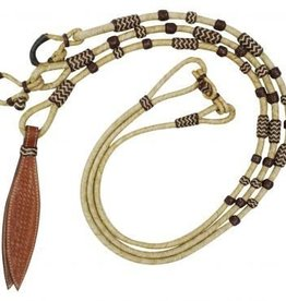 Showman Braided Natural Rawhide Romal Reins with Leather Popper