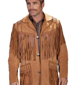 Scully Men's Scully Handlaced Beaded Fringe Jacket Bourbon Boar Suede - Size 44