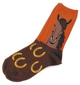 GT Reid Socks - Horse Portrait Burnt Orange