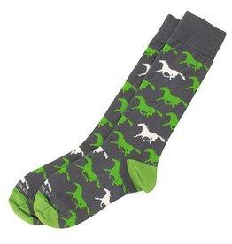 GT Reid Socks - Charcoal/Lime Horse - Adult