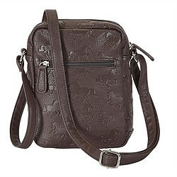 AWST International Handbag - Brown Cross Body w/Debossed Lila Horses