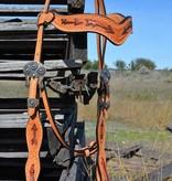 Alamo Saddlery Light Leather Arrow Tool Copper Paint Headstall