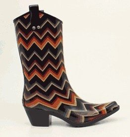 M & F Western Products Snip Toe Rain Boot with Chevron
