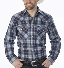 Western Express Men's Western Blue & Brown Plaid Shirt