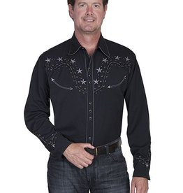 Scully Sportswear, INC Men's Scully 2-Tone Star Stud Shirt - Black