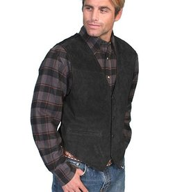 Scully Men's Scully Black Boar Leather Suede Vest