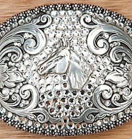 Berry Edged Crystal Horsehead Buckle