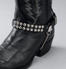 Western Express Boot Chains - Black Leather - Star Studs