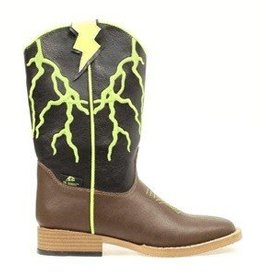 M & F Western Products Children's Ace Brown & Lime Boots, Slight Damage - size 13.5 - Reg $54.95 Now Only $15