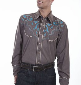 Scully Men's Scully Embroidered Western Shirt, Heather Brown
