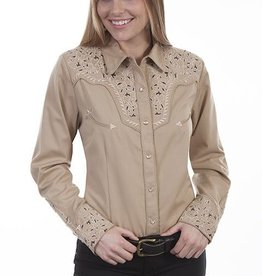 Scully Women's Scully Two-Tone Scroll Embroidered Western Shirt, Tan