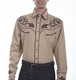 Scully Men's Scully Floral Embroidered Western Shirt, Tan