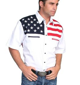 Scully Men's Scully American Flag Motif Shirt, SS