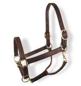 "GT Reid Colonial 1"" Halter w/Three Row Stitching & Brass Hardware"