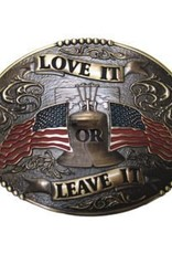 Love It or Leave It American Flags Buckle, Brass