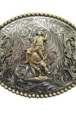 AndWest Two-Tone Oval Bull Rider w/ Beaded Border