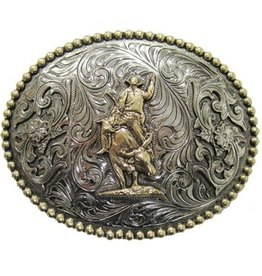 Two-Tone Oval Bull Rider w/ Beaded Border