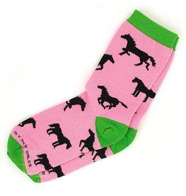GT Reid Children's Socks Pink Silo Green Toe