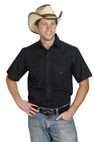Western Express Men's Black Western Short Sleeve Shirt - $38.95 @ 50% OFF! Black XXXXL