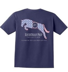 Stirrups Clothing Equestrian Prep Jumping Horse T-Shirt - Navy