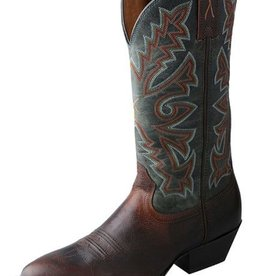 "Twisted X, Inc Men's Twisted X Western 12"" Chocolate & Blue Boots 8.5 EE"